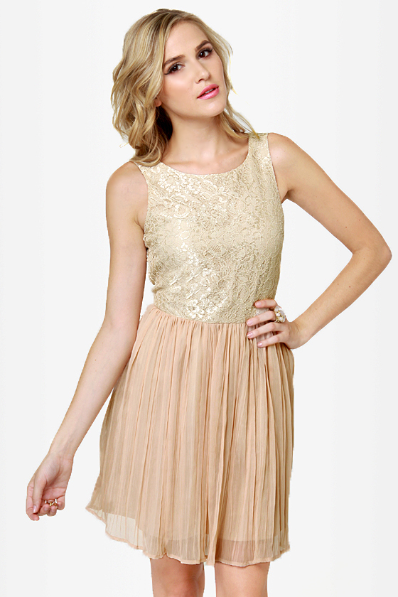 Beige lace cocktail dress