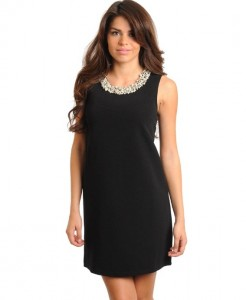 Black Sleeveless Shift Dress