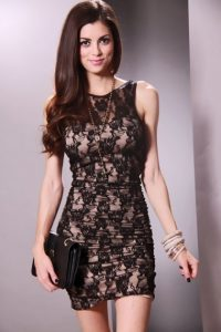 Black and Beige Lace Dress