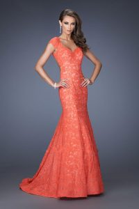 Cap Sleeve Coral Lace Prom Dress