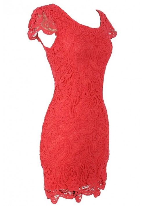 Galerry lace dress in coral