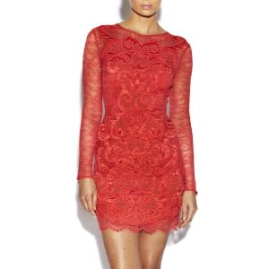 Full Sleeve Coral Lace Dress