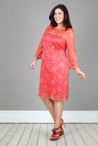 Full Sleeve Plus Size Coral Lace Dress