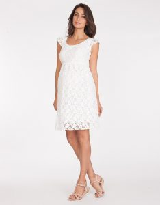 Lace Maternity Dress White