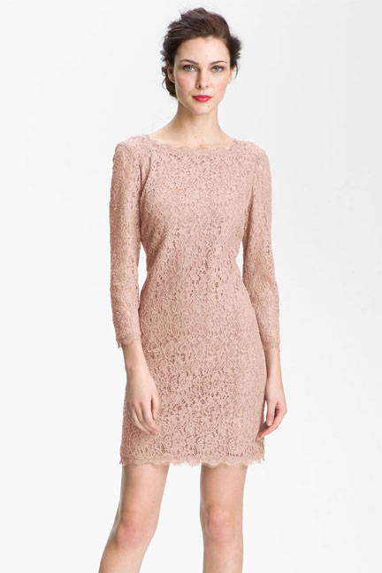 Lace Overlay Sheath Dress