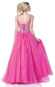 Lace Up Back Prom Dress