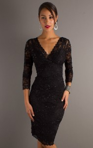 Long Sleeve Black Cocktail Dress
