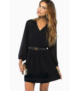 Long Sleeve Black Shift Dress