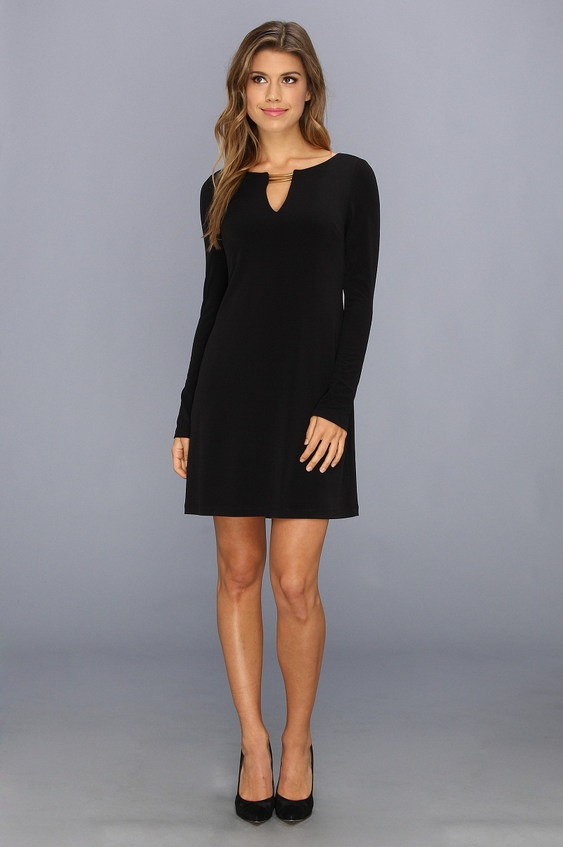 Shop Black Round Neck Long Sleeve Shift Dress EmmaCloth-Women Fast Fashion Online.