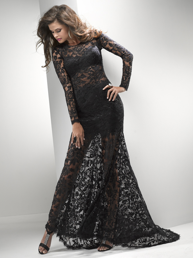Long sleeve mermaid lace dress