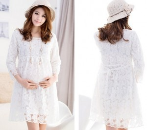 Maternity White Lace Dress