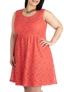 Plus Size Coral Lace Dress