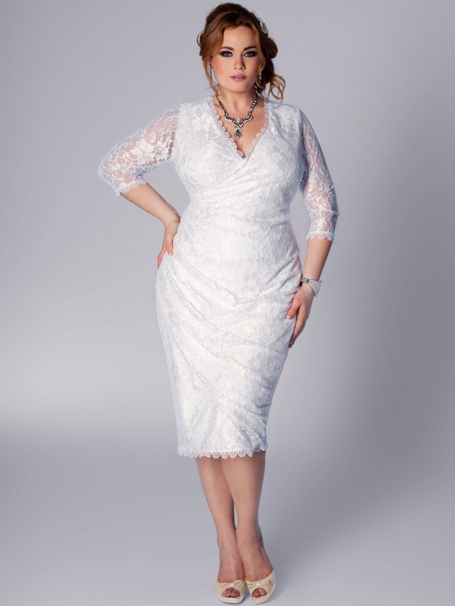 Plus size lace dress dressed up girl for Plus size lace wedding dresses with sleeves