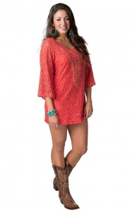 Three Quarter Sleeve Coral Lace Dress