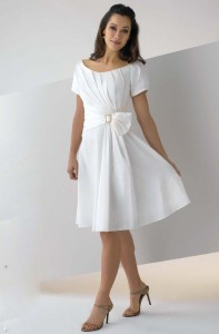 White Cocktail Dress with Sleeves