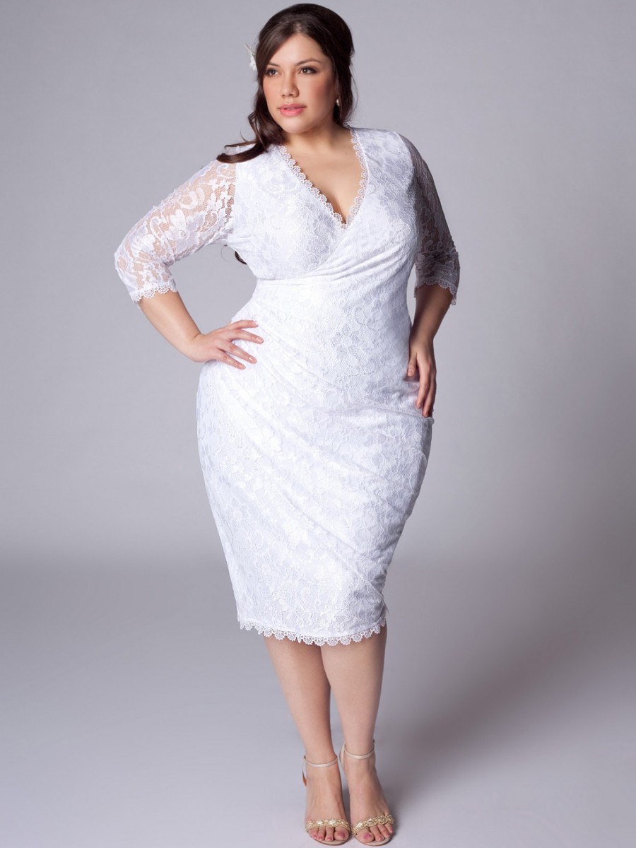 White Plus Size Cocktail Dresses - Formal Dresses
