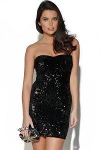 Black Strapless Sequin Dress