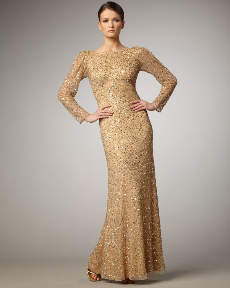 Sequin dress long sleeved gold