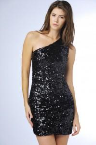 One Shoulder Black Sequin Dress