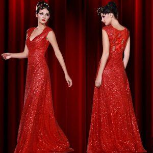 Red Long Sequin Dress