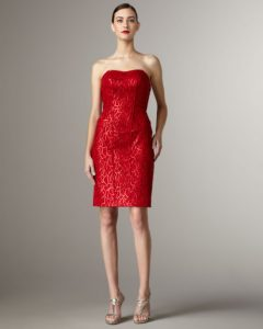 Red Sequin Strapless Dress