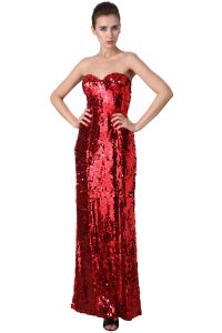 Strapless Red Sequin Dress