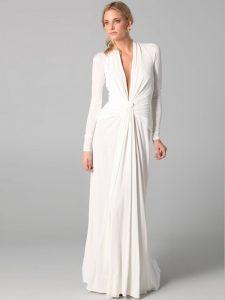 White Long Sleeve Sheath Dress