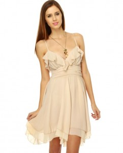 Beige Mini Dress