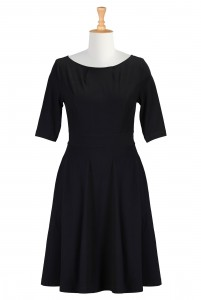 Black Fit and Flare Dress With Sleeves