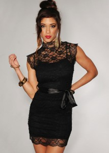 Black Lace Turtleneck Dress