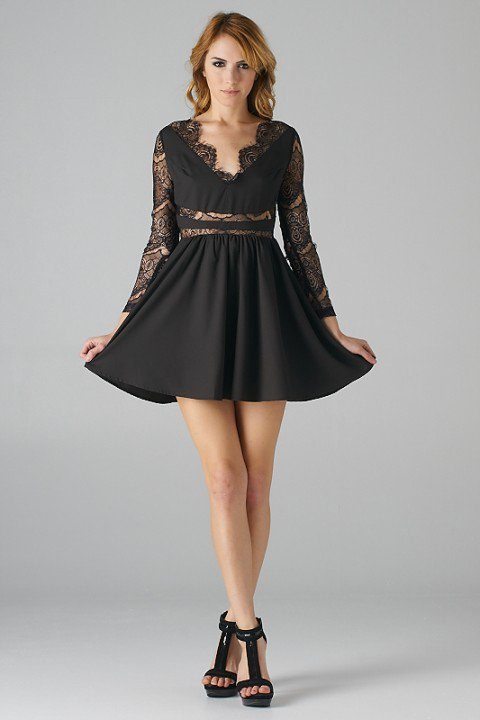 Black Long Sleeve Fit and Flare Dress