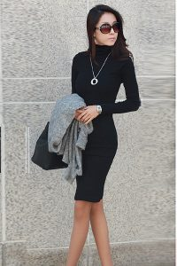 Black Long Sleeve Turtleneck Dress
