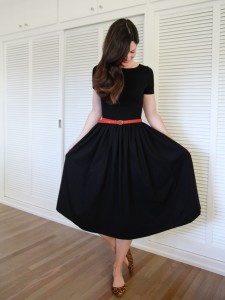 Black Midi Dress with Sleeves