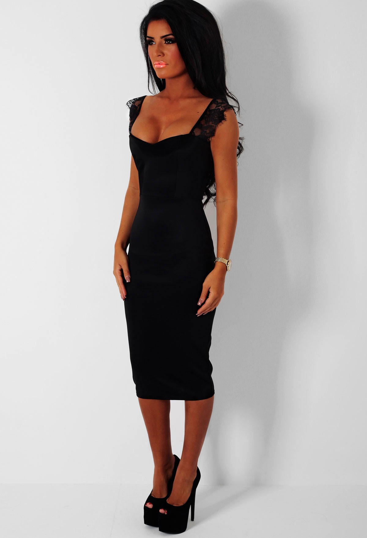 Dress: Black Midi Dress Picture Collection