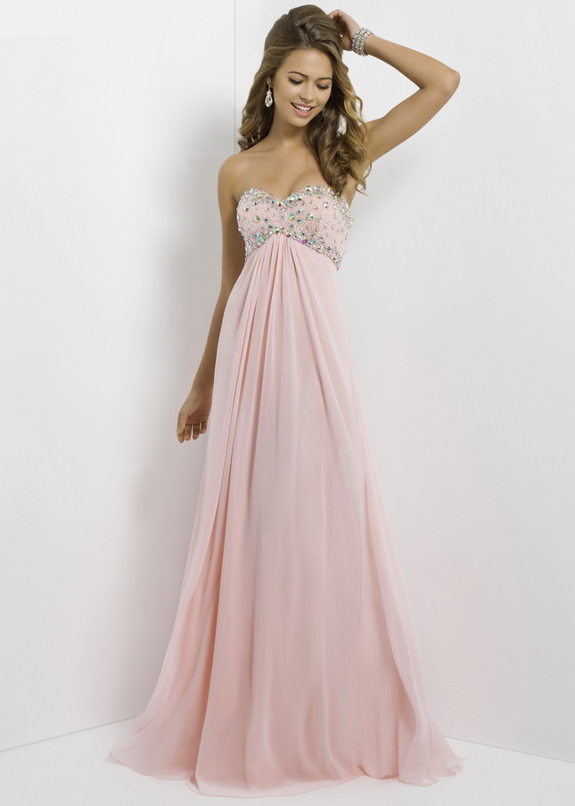 Blush Pink Long Prom Dresses