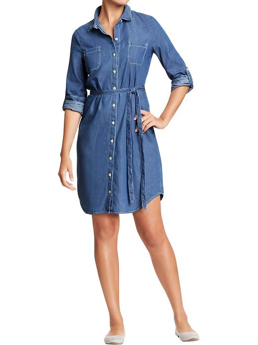 Chambray dress dressed up girl for Chambray shirt women