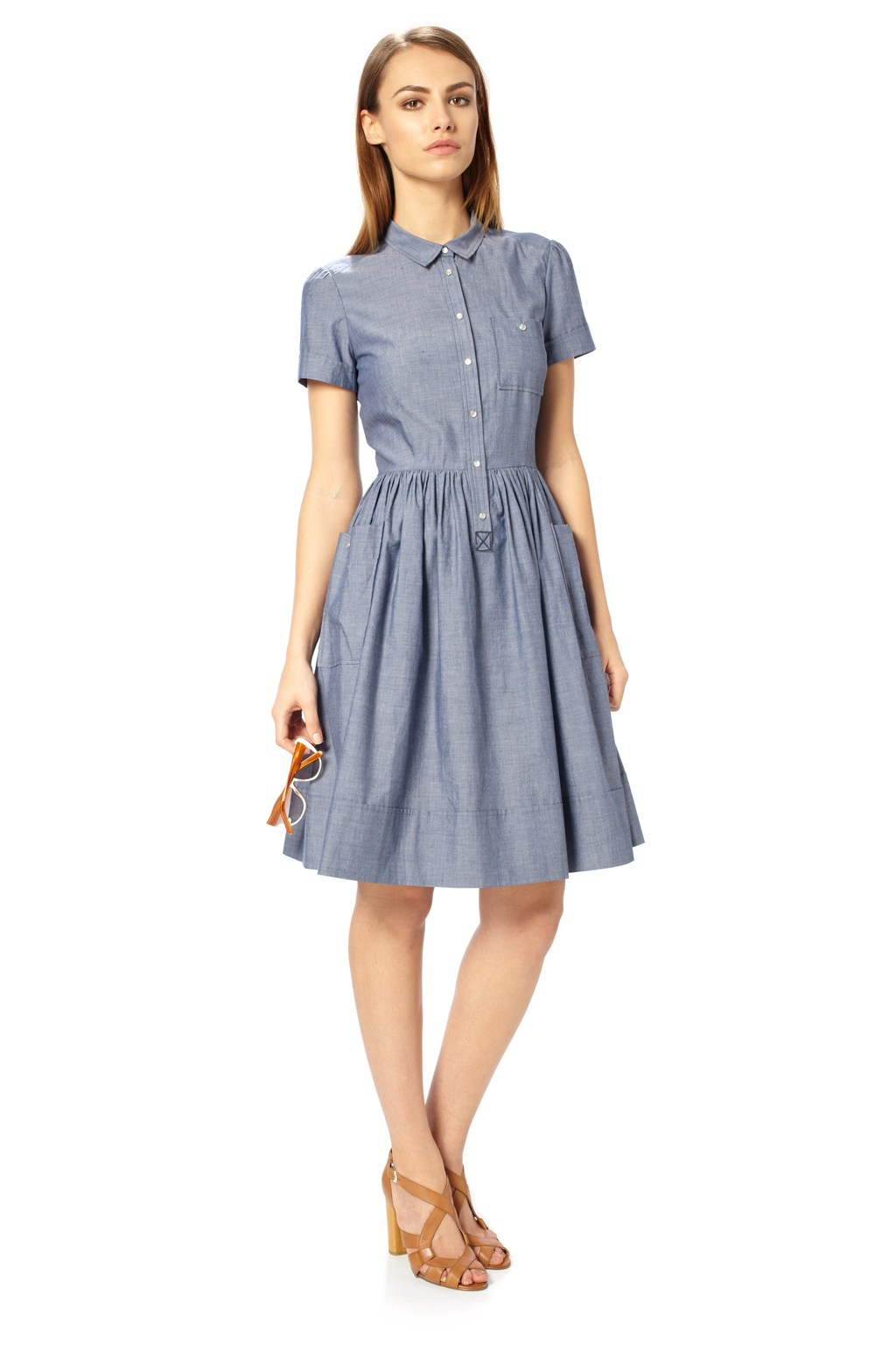 chambray dress dressed up girl