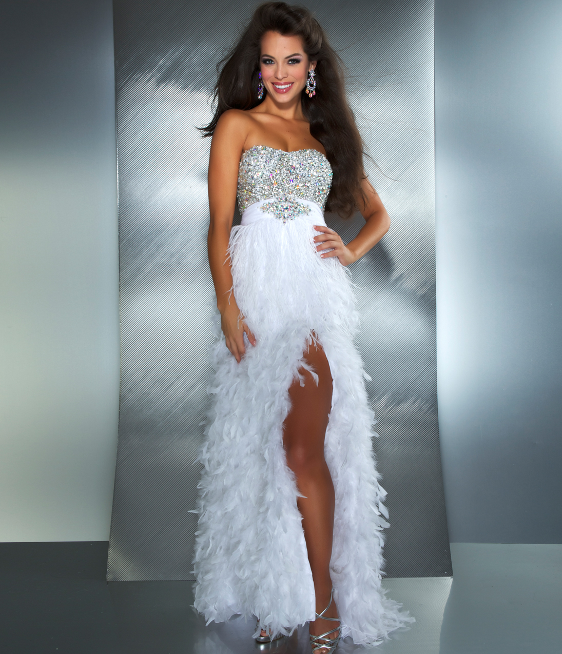 Feathered top prom dress - Prom dress style