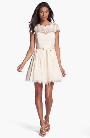 Lace fit and flare dress dressed up girl for Lace fit flare wedding dress