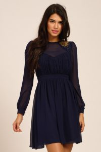 Fit and Flare Long Sleeve Dress