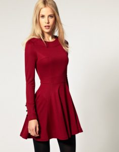 Full Sleeve Red Fit and Flare Dress