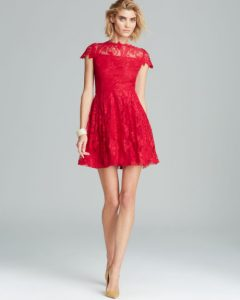 Lace Red Fit and Flare Dress