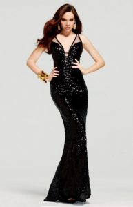 Long Black Sequin Prom Dress