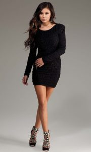 Long Sleeve Black Mini Dress