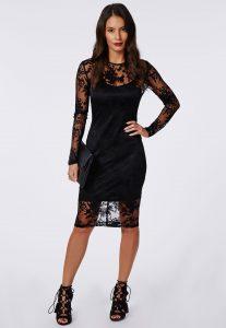 Long Sleeve Black Sequin Mini Dress