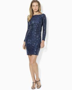 Long Sleeve Blue Sequin Dress