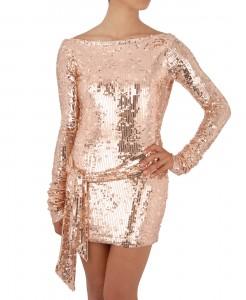 Long Sleeve Gold Sequin Mini Dress