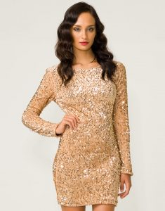 Long Sleeve Gold Sequin Mini Dress