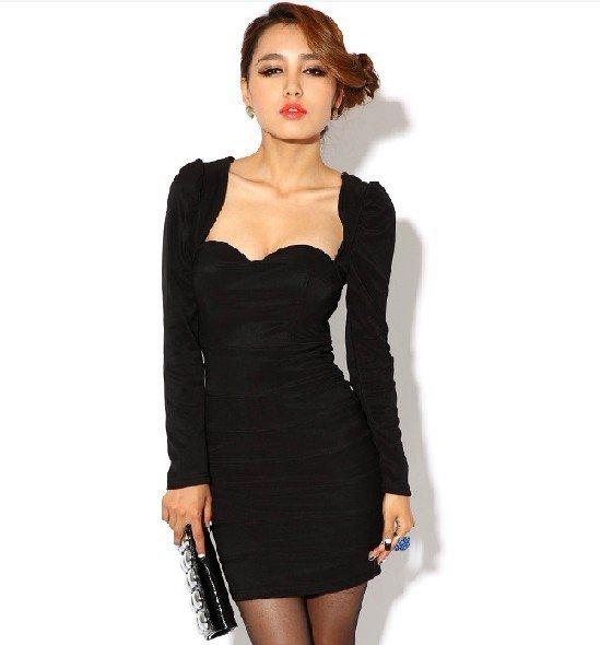 Black mini dresses with sleeves