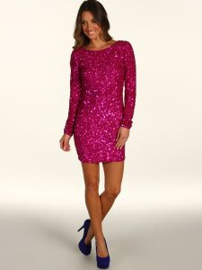 Long Sleeve Sequin Prom Dress